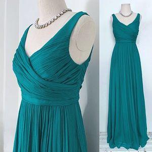 NWT J. Crew Simple Silk Emerald Prom Dress